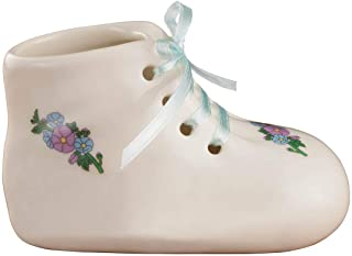 "Porcelain Baby Bootie Heirloom – Blue Boy - Ceramic Baby Shoe Keepsake – Birth, Baptism or Christening Gift - 4"" Long by 2"" Wide"