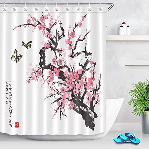 vrupi Japanische Kirsche Duschvorhang rosa Blüten mit Schmetterling Asian Branch Duschvorhang 71x71inch Waschen wasserdichtes Gewebe einschließlich zwölf Kunststoffhaken