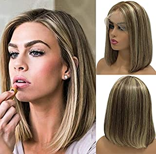 Blonde Ombre Bob Wigs 13x4 Lace Front Pre Plucked 150% Density Highlighted Color #6 Fading to #613 Blonde Balayage Glueless Bleached Knots 12