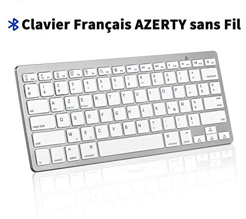 EMEBAY - Teclado AZERTY inalámbrico Bluetooth 78 Teclas Teclado francés Compatible con iOS/Android/Windows para Mac, iPad, Tableta, teléfono