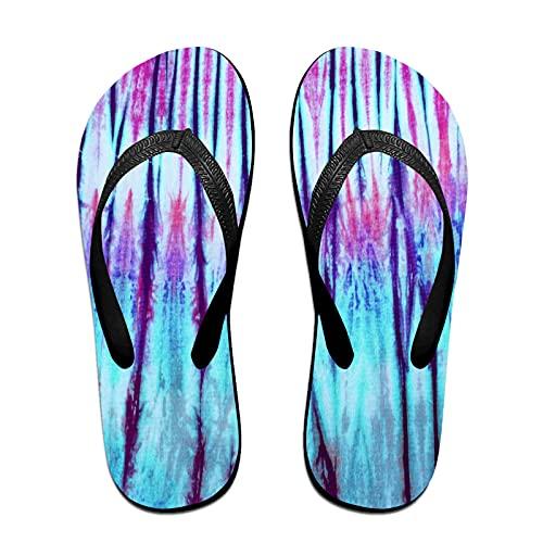 Sandales unisexes minces à bascule,Tie Dyed Pattern sur tissu de coton pou, Tapis de yoga Flip Flops plage confortable bracelet en cuir avec légère en EVA Sole Taille S