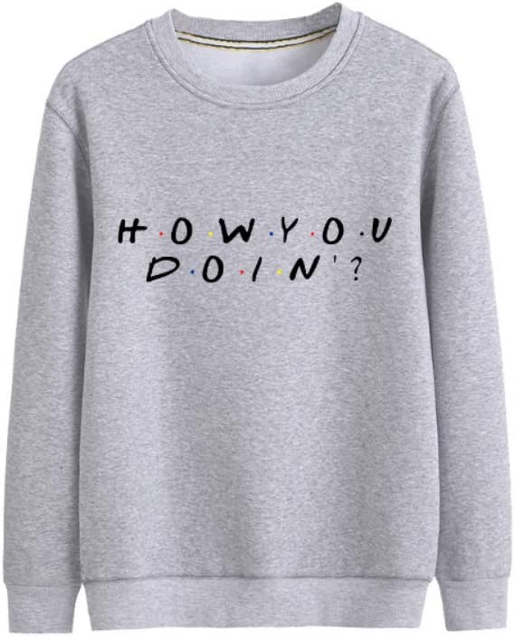 Bgdgjrkjk Pullover How You Doing Airy Outwear All-Match Pullover Casual Print Men (Color : A03, Size : X-Large)