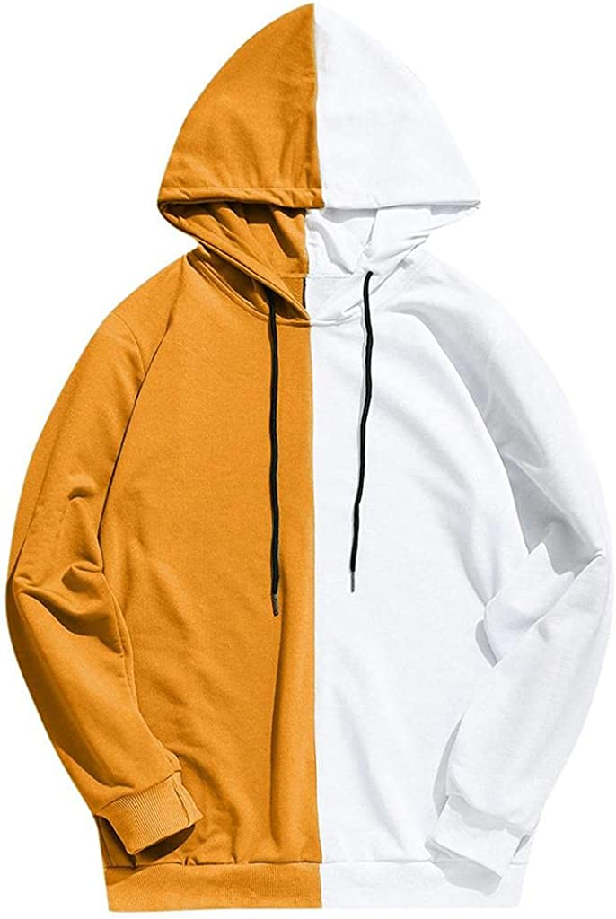 Men's Hoodie Patchwork Athletic Sweatshirt Long Sleeve Sweatshirt Drawstring Hooded Pullover Tops Outwear with Pockets
