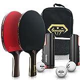 Senston Juego De Raquetas De Tenis De Mesa-Red De Tenis De Mesa RetráCtil, 2 Raquetas De Ping Pong y Pelotas Ping Pong De 3 Estrellas, Kit De Tenis De Mesa para 2, Juego Interior Al Aire Libre
