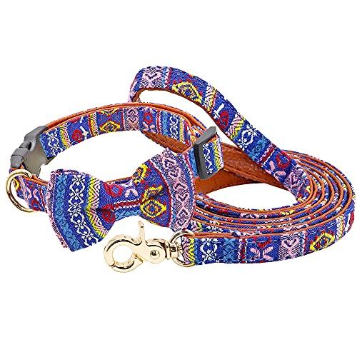 YSSDZYYMXD Collar De Perro Impreso, para Cachorros Pequeños Perros Medios Chihuahua Bulldoag Francés Pitbull Nylon Perro Perro Correa Correa Cuello De Pet,2,31~46cm