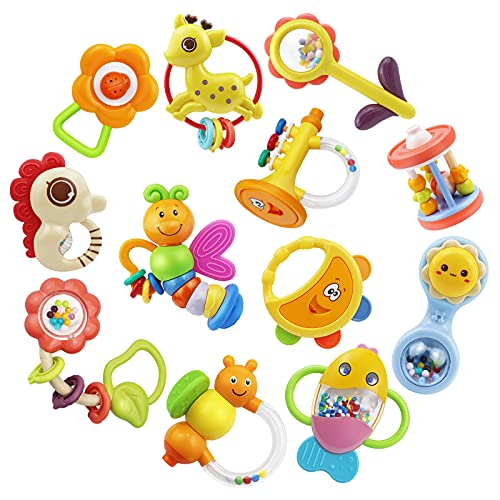 MOONTOY 12pcs Baby Rattle Teething Toys, Infant Teether Shaker Grab and Spin Rattles Toy, Musical Toy Set, Early Educational Newborn Chew Toys Gifts for 0, 3, 6, 9, 12 Months Infant Baby Boys Girls
