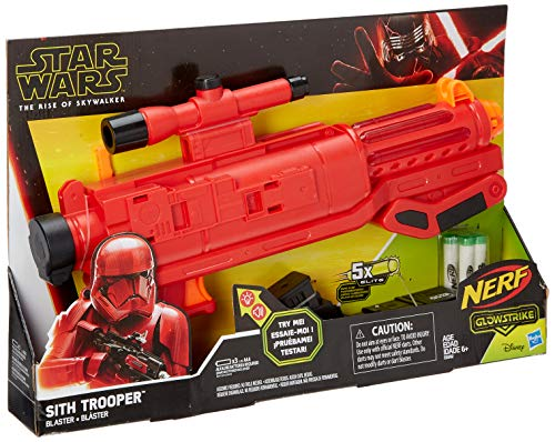 Star Wars Nerf Sith Trooper Blaster -- Lights & Sounds, Glowstrike Technology, 5 Official Nerf Glowstrike Darts -- for Kids, Teens, Adults