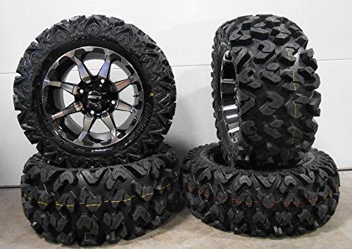 Bundle - 9 Items: STI HD6 14' Wheels Machined 26' Rip Saw Tires [4x156 Bolt Pattern 3/8x24 Lug Kit]