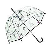 SMATI Parapluie Femme Dome Transparent - Ouverture Automatique (Bonjour Paris)