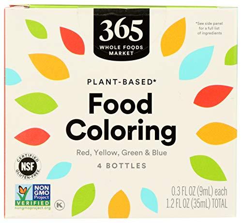 365 by Whole Foods Market, Plant-Based Food Coloring (4 - 0.3 Fl Oz Bottles), 1.2 Fl Oz