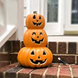 StarQualityBargain Halloween Pumpkin Lantern - Light Up Pumpkins with Unique 3 Tiers Design - Lightened Large Pumpkin with Waterproof UL Certified Cord Plug and 2 Safety Fuse - 14 Inch