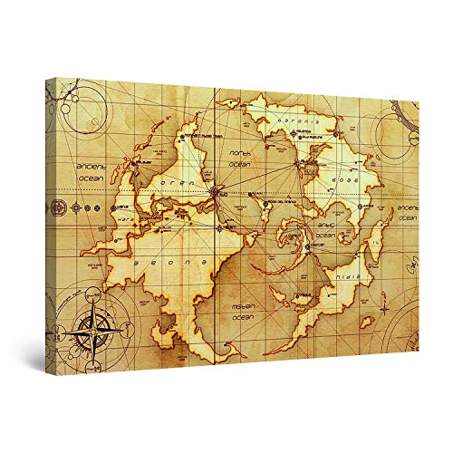 Startonight Wall Art Canvas Ancient World Map, Vintage Framed 24 x 36 Inches