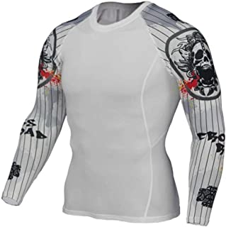 Dri Fit White Compression Top Mens Long Sleeve Running Shirt