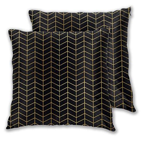 Juego de 2 fundas de cojín geométricas con patrón de espiga de imitación de oro negro, fundas de almohada cuadradas decorativas, fundas de almohada para dormitorio, sala de estar, 45 x 45 cm