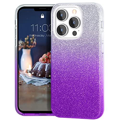 MATEPROX Custodia Brillantini Compatibile con iPhone 13 PRO Cover Scintillante Cristallo Glitter Protettiva Covers per iPhone 13 PRO 6,1   2021-Lilla sfumato