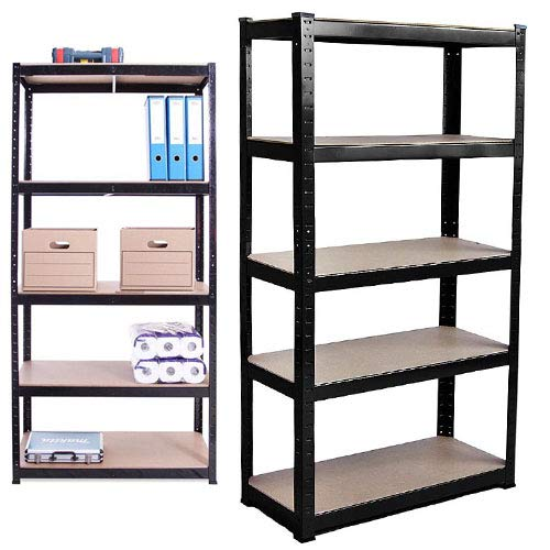 150cm x 70cm x 30cm, Black 5 Tier (175KG Per Shelf), 875KG Capacity Garage Shed Storage Shelving Units, Heavy Duty Steel Storage Rack and Shelving, 5 Year Warranty