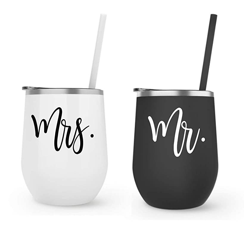 Mr Mrs Wine Tumbler Gift Set Stainless Steel Bride Tumbler Gift, Wine Goblet, Wife, Engagement, Bachelorette, Bride To Be, Newly Engaged, Bridal Shower, Mother Gift