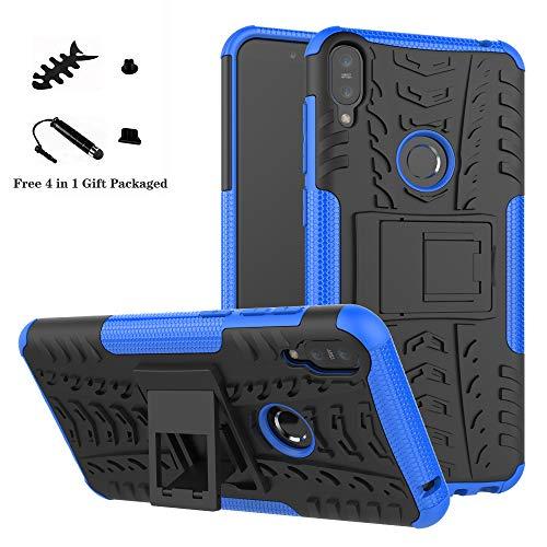 LiuShan Protettiva Shockproof Rigida Dual Layer Resistente agli Urti con cavalletto Caso per ASUS Zenfone Max PRO M1 ZB601KL / ZB602K Smartphone,Blu