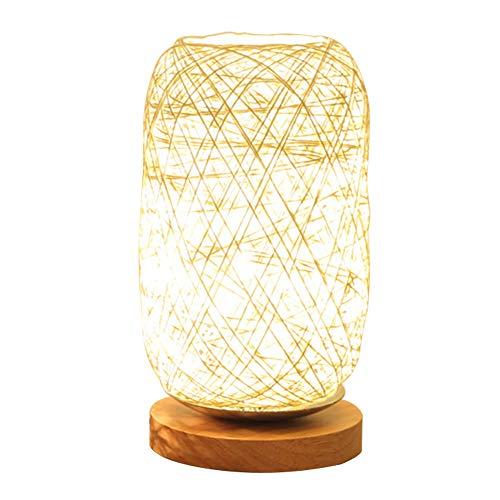 FLOX Nachttischlampe, minimalistische Massivholzschnur Rattan Tischlampe Nachttischlampe, runde einfache Schreibtischlampe, Nachttischlampe (14 x 23 x 12 cm)