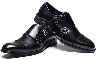 CAIFENG Vestido de Negocios de Cuero oxords para Hombres Captoe Brogue Shoes Monk Strap (Color : Black, Size : 42 EU)