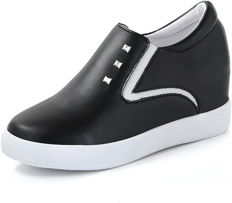 Btrada Women's Height Heel Increase Hidden Loafers shoes Rivet Casual Slip-on Walking Sneaker shoes