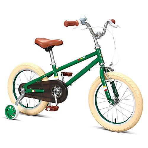 Axdwfd Kinderfiets, 14 inch en 16 inch, verstelbaar voor jongens en meisjes, met afneembare steunwielen
