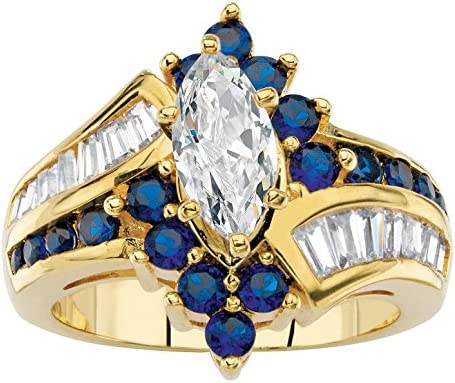 Palm Beach Jewelry 14K Yellow Gold Plated Marquise Cut and Baguette Cut Cubic Zirconia and Round product image