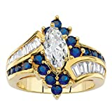 Palm Beach Jewelry 14K Yellow Gold Plated Marquise Cut and Baguette Cut Cubic Zirconia and Round Blue Simulated Sapphire Bypass Ring Size 7