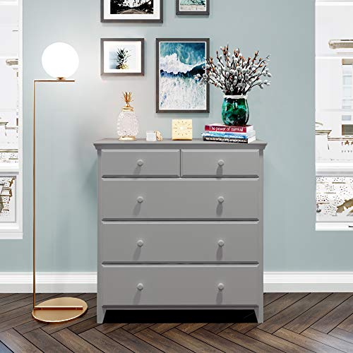 Max & Lily Solid Wood 2 over 3 5- Drawer Dresser, Grey