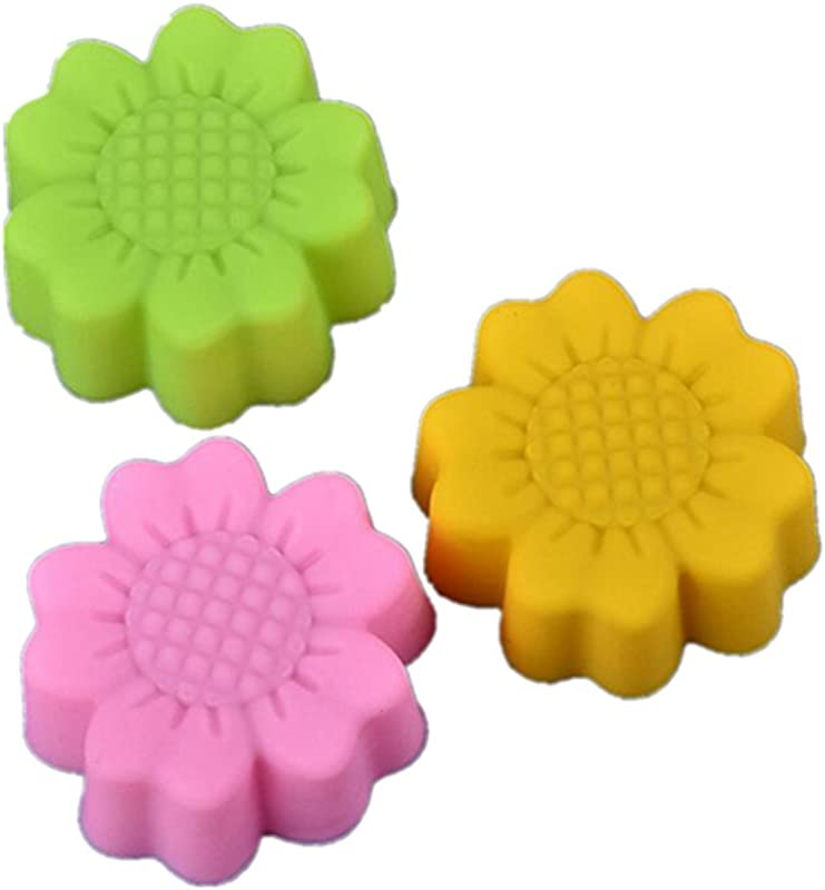 10 Pcs Set Da Wa Sunflower Environment Friendly Reusable Non Stick Food Silicone Baking Cups Muffin Cups Cupcake Pastry Cake Mold
