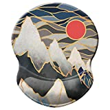 ITNRSIIET Mouse Pad, Ergonomic Mouse Pad with Gel Wrist Rest Support, Gaming Mouse Pad with Lycra Cloth, Non-Slip PU Base for Computer, Laptop, Home, Office & Travel,Rising Red Sun