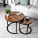 amzdeal Coffee Table for Living Room, Set of 2 Nesting Side Coffee Tables, Stable and Easy Assembly, Chipboard Table Top with Metal Frame - Large : Φ 23.6×19.7 inch, Small : Φ 15.7×16.3 inch, Walnut