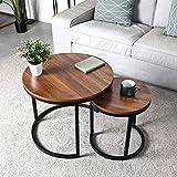 Amzdeal Table Basse,Set de 2 Table Basse, Tables basses rondes chambre à coucher, montage stable et facile, plateau en bois avec structure en métal 60,4 × 51cm|40,2 × 42,5 centimètres
