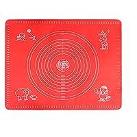 ン滑り止め クッキングマット 滑り止めシリコンベーキングマットベーキングアクセサリーノンスティックピザ生地ローリングマットキッチンツールクッキングペストリーシートパッド (色 : Red, Size : 50x40cm)