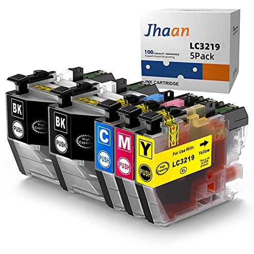 Jhaan LC3219 Tintenpatronen Ersatz zu LC 3219 Brother MFC-J5330DW MFC-J5335DW MFC-J5730DW MFC-J5930DW MFC-J6930DW MFC-J6935DW MFC-J6530DW Tintenstrahldrucker (2 Schwarz 1 Cyan 1 Magenta 1 Gelb)