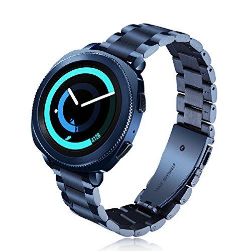 Preisvergleich Produktbild VIGOSS kompatible Galaxy Watch 42mm Armband,  [Upgrade] poliert und gebürstet solides Metall Edelstahlarmband Männer Ersatz Armband Samsung Galaxy Watch 42mm SM-R810 Smartwatch(42mm,  Blau)