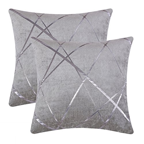 Gigizaza Cushion Covers 55 x 55 cm Silver Grey Square Big Chenille Decorative 22 x 22 Inch Pillowcases for Sofa Bedroom Living room Set of 2