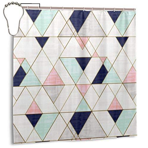Jacklee Mod Triangles Navy Blush Mint Duschvorhang 180 * 180cm Anti-Schimmel & Wasserabweisend Shower Curtain mit 12 Duschvorhangringen 3D Digitaldruck