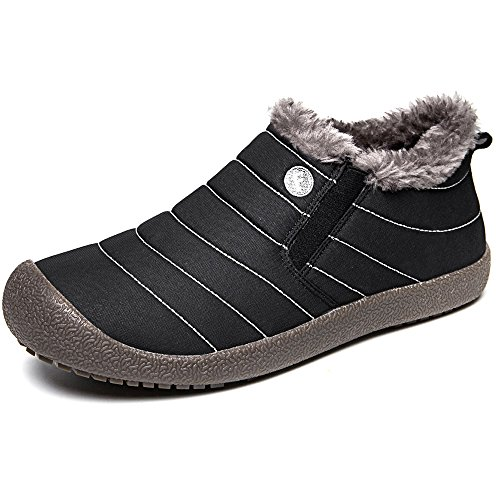JACKSHIBO Mens Womens Snow Boots Waterproof Fur Lined Winter Boots Outdoor Slip on Boots