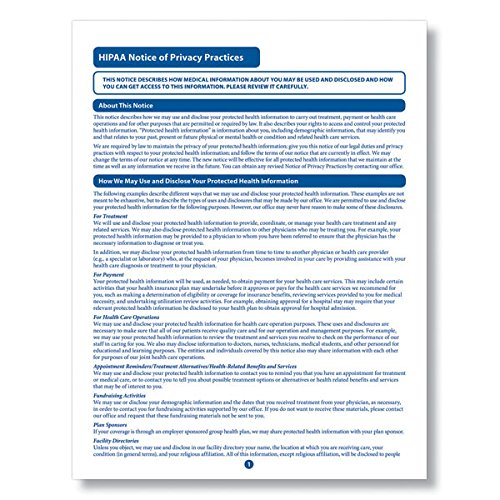 ComplyRight HIPAA Notice of Privacy Practices Form | 8-1/2� x 11� | Medical Form | 100 Pack
