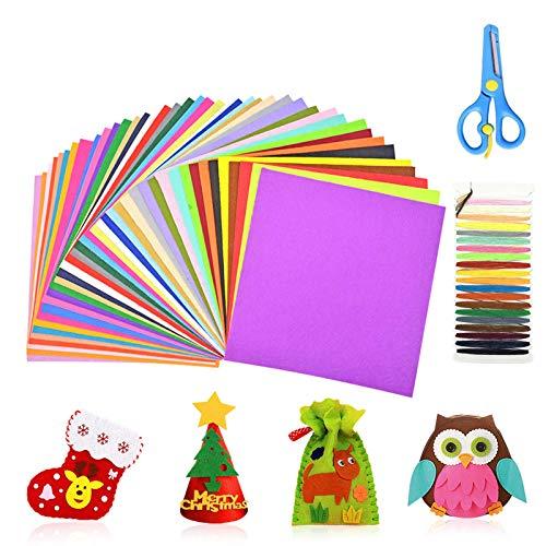 ASANMU Feltro Colorato in Fogli, 45 Colori Fogli Feltro 20*30 cm + Forbici + Fili Cucito di 21 Colori Feltro e Pannolenci Usato per Bambini DIY Regalo di Natale Cucire Mestieri Stoffa di Bricolage