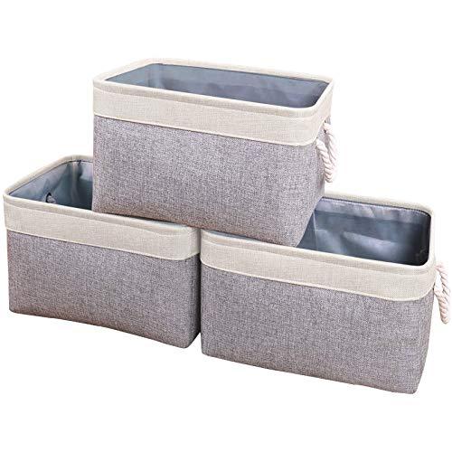 Yawinhe Juego de 3 cestas de almacenamiento plegables de tela para estantes, armarios, ropa, juguetes, toallas, baño (Beige/Gris, 40x31x31cm)