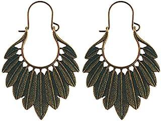 VZHEZEI Women Bohemian Ethnic Green Leaf Tassel Drop Earrings(Ancient Copper) (Color : Bronze)