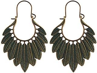 AYO Women Bohemian Ethnic Green Leaf Tassel Drop Earrings(Ancient Copper) AFJJ (Color : Bronze)