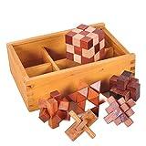 Gracelaza 6 Piezas Juguetes Rompecabezas de Madera Caja Set - IQ Juguete Educativo - 3D Brain Teaser Puzzle de Madera - Juego Niños y Adolescentes