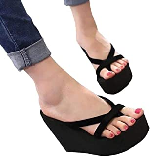 Women Slippers Fashion Summer High Heel Slippers Beach Flip Flops Slipper Wedge Platform Beach Shoes Sandals