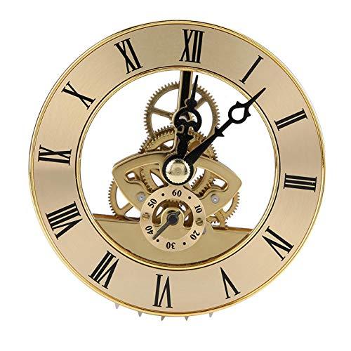 Inserto de reloj incorporado de metal de 86 mm, cabezal de reloj de cuarzo, duradero y resistente, presenta una lente de plástico transparente y números romanos negros, fácil lectura, para fabricantes
