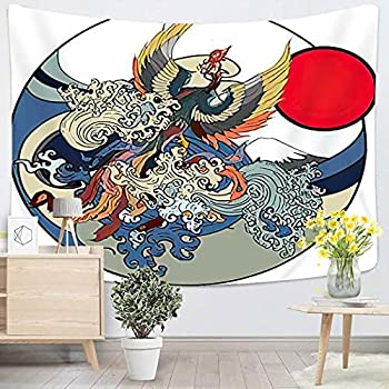Art Painting Magic Animal Japanese Peacock Tattoo Asian Phoenix Fire Bird Colorful for Bedroom Aesthetic Tapestry Teen Magic Nature Space Dorm Outdoor Boutique - 60 x80