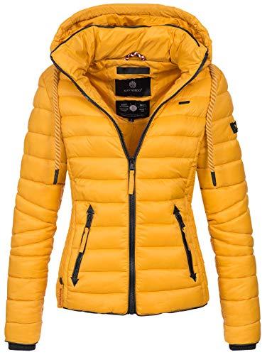 Navahoo Damen Jacke Steppjacke Übergangsjacke gesteppt Stepp Frühjahr B650 [B650-Lulana-Gelb-Gr.XL]