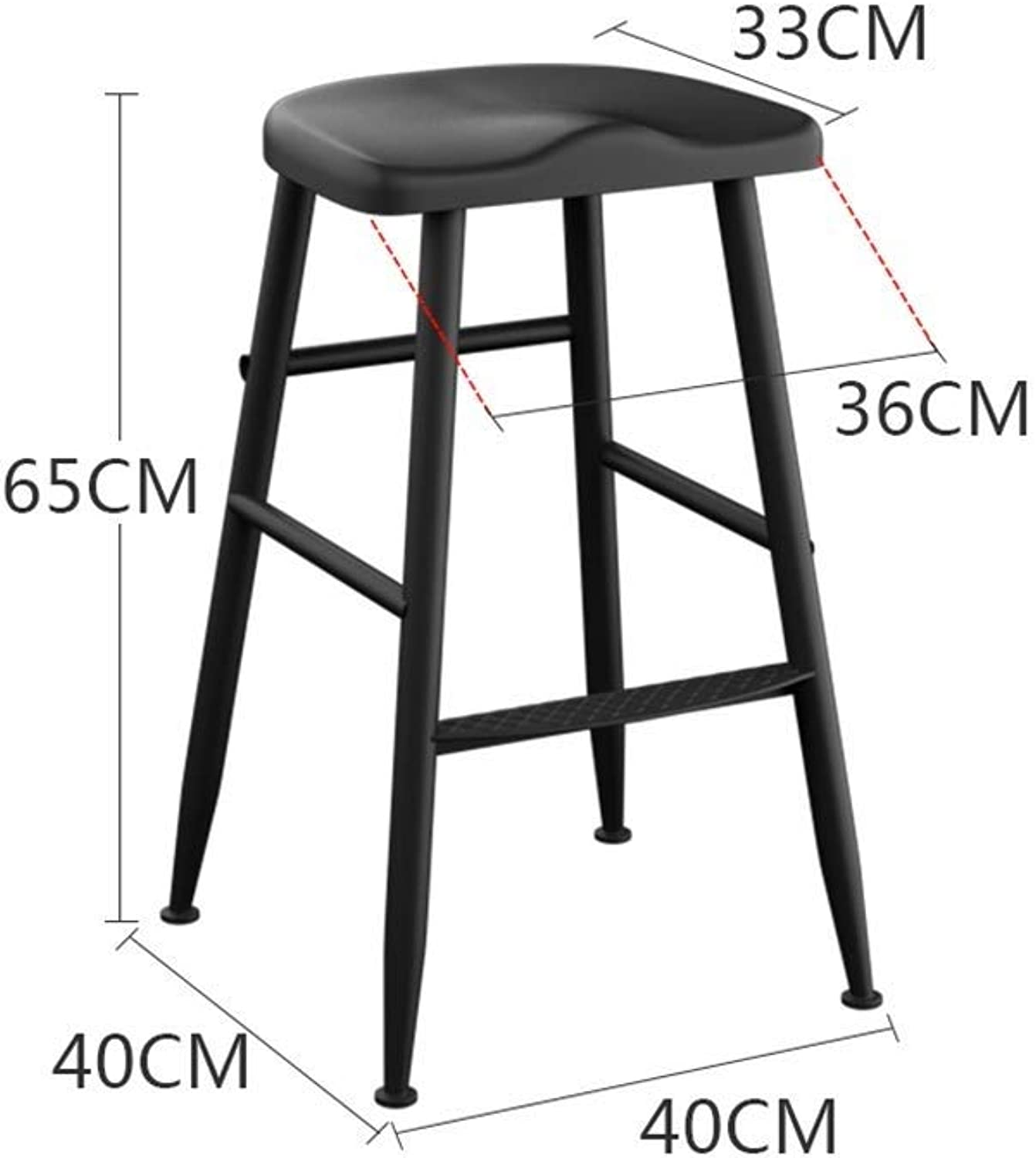 Wrought Iron Wood Bar Stool Home Bar Chair High Stool Modern Minimalist Bar Stool Bar Stool High Chair (color   A, Size   H- 65CM)
